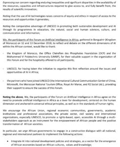 Outcome Statement of the Forum on Artificial Intelligence in Africa